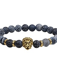 cheap -Men's Natural Stone Bead Bracelet Beads Lion Chakra Fashion Vintage equilibrio Stone Bracelet Jewelry Black / Gold / Silver For Street Gift