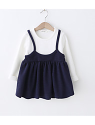 cheap -Baby Girls' Basic Daily Patchwork Patchwork Long Sleeve Regular Knee-length Cotton Dress Navy Blue / Toddler