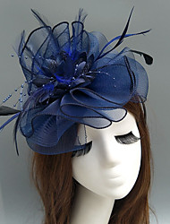 cheap -Feather / Net Fascinators / Hats / Headpiece with Feather / Floral / Flower 1pc Wedding / Special Occasion / Tea Party Headpiece