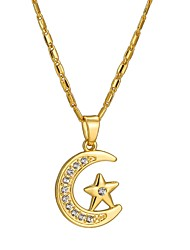 cheap -Pendant Necklace Moon Star Crescent Moon Ladies Ethnic 18K Gold Plated Alloy Gold Silver 55 cm Necklace Jewelry For Gift Daily