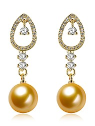 cheap -Women's Cubic Zirconia Freshwater Pearl Drop Earrings Ladies Fashion Pearl Stainless Steel 18K Gold Earrings Jewelry Gold For Gift Evening Party