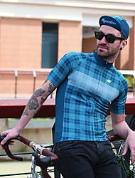 cheap -Mysenlan Men's Short Sleeve Cycling Jersey Black / Yellow Blue+Pink Blue Plaid / Checkered Bike Jersey Mountain Bike MTB Road Bike Cycling Sports Polyester Taffeta Clothing Apparel / Micro-elastic