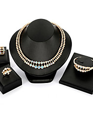 cheap -Women's Cubic Zirconia Jewelry Set Statement Ladies Vintage Fashion Earrings Jewelry Gold For Evening Party Masquerade