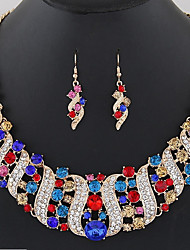cheap -Women's Sapphire Citrine Jewelry Set Drop Earrings Bib necklace Bib Rainbow Statement Ladies Bohemian Boho Elegant Indian Earrings Jewelry Black / White / Gold For Ceremony Carnival