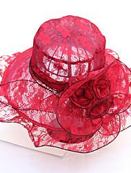 Недорогие -Жен. Очаровательный Классический Шляпа от солнца-Кружева Сетка,С принтом Все сезоны Розовый Красный Темно синий / Ткань