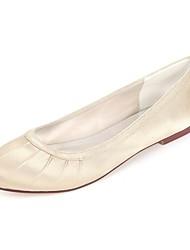 cheap -Women's Flats Flat Heel Round Toe Side-Draped Satin Ballerina Spring & Summer Royal Blue / Champagne / Ivory / Wedding / Party & Evening
