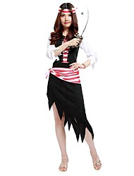 cheap -Pirates of the Caribbean Costume Unisex Halloween Halloween Carnival New Year Festival / Holiday Polyster Outfits Black Solid Colored Striped Halloween
