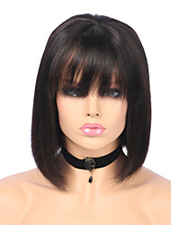 cheap -Remy Human Hair Full Lace Wig Bob Short Bob style Brazilian Hair Straight Wig 130% Density with Baby Hair Natural Hairline Bleached Knots Women's Short Human Hair Lace Wig