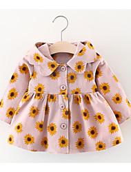 cheap -Baby Girls' Basic Daily / Holiday Floral Long Sleeve Regular Cotton Trench Coat Blushing Pink / Toddler