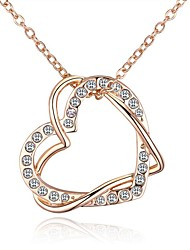 cheap -Women's Pendant Necklace Long Heart Ladies Vintage Ethnic Fashion Rhinestone Alloy Gold 40+5 cm Necklace Jewelry 1pc For Party / Evening Going out