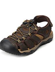 baratos -Homens Sapatos Confortáveis Pele Napa / Couro Ecológico Primavera Verão / Outono & inverno Sandálias Caminhada / Tênis Anfíbio Preto / Marron / Camel