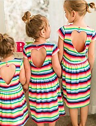 cheap -Kids Toddler Girls' Active Sweet Going out Weekend Striped Rainbow Cut Out Short Sleeve Above Knee Dress Rainbow / Cotton