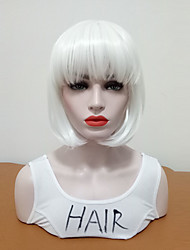 cheap -Synthetic Wig Straight Bob Wig Medium Length White Synthetic Hair Women's Women Medium Size With Bangs White