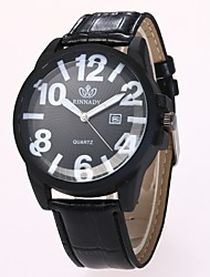 cheap -Men's Dress Watch Wrist Watch Quartz Quilted PU Leather Black / Brown New Design Casual Watch Analog Classic Casual Fashion - Black Brown One Year Battery Life