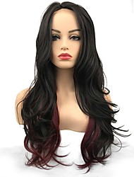 cheap -Synthetic Lace Front Wig Wavy Middle Part Lace Front Wig Long Black / Burgundy Synthetic Hair Women's Synthetic African American Wig Black StrongBeauty