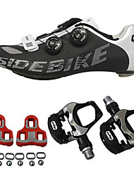cheap -SIDEBIKE Cycling Shoes With Pedals & Cleats Road Bike Shoes Carbon Fiber Anti-Slip Cycling Red and White Black+Sliver Men's Cycling Shoes / Synthetic Microfiber PU