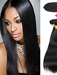 cheap -3 Bundles with Closure Peruvian Hair Straight Human Hair Hair Weft with Closure Natural Color Human Hair Weaves Gift Easy dressing Best Quality Human Hair Extensions / 8A