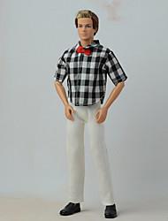 Недорогие -Кукольные штаны Рубашки Штаны для Кукла Барби Полосы / волосы Разные цвета Мода текстильный Лён / Хлопок Полиэстер / Хлопок 2 pcs Игрушка ручной работы для подарков на день рождения девочки / Дети