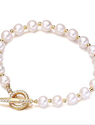 cheap -Women's Cubic Zirconia Freshwater Pearl Bead Bracelet Simple Korean Fashion Stainless Steel Bracelet Jewelry Gold For Gift Daily / Gold Plated