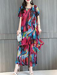 cheap -Women's Daily Loose Long Blouse Set - Rainbow, Wide Leg Pant