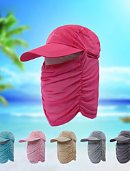 cheap -Hiking Cap Fishing Hat Pollution Protection Mask Hat One Panel Sunscreen UV Resistant Breathable Fast Dry Solid Colored Fashion Ice Silk Summer for Men's Women's Fishing Hiking Cycling / Bike Pink