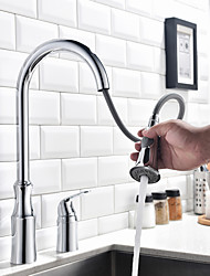 cheap -Kitchen faucet - Single Handle Two Holes Chrome Tall / ­High Arc Widespread Contemporary Kitchen Taps / Brass