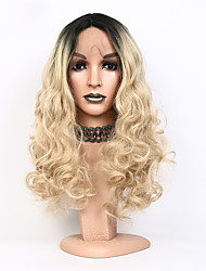 cheap -Synthetic Lace Front Wig Wavy Bob Pixie Cut Lace Front Wig Blonde Short Medium Length Black / Gold Synthetic Hair Women's New Arrival Hot Sale Dark Roots Blonde Black