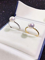 cheap -Women's Open Ring Freshwater Pearl Gold Silver Sterling Silver Silver Plated Gold Plated Circle Ladies Fashion Gift Daily Jewelry