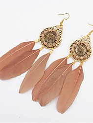 cheap -Synthetic Tanzanite Drop Earrings Feather Ladies Vintage Fashion Oversized Native American Feather Earrings Jewelry Green / Wine / Light Coffee For Wedding Street