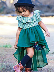 cheap -Baby Girls' Basic Daily Plaid Short Sleeve Regular Regular Dress Green / Toddler