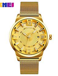 Недорогие -Skmei 9166 кварцевые наручные часы мужчины металлическая сетка из нержавеющей стали водонепроницаемый полный календарь часы
