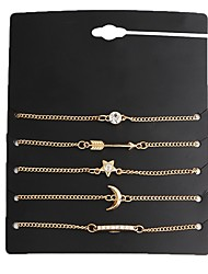 cheap -5pcs Women's Chain Bracelet Moon Star Ladies Fashion Alloy Bracelet Jewelry Gold For Daily School