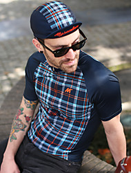 cheap -Mysenlan Men's Short Sleeve Cycling Jersey Dark Blue Plaid / Checkered Bike Jersey Mountain Bike MTB Road Bike Cycling Sports Polyester Taffeta Clothing Apparel / Micro-elastic / Expert / Expert