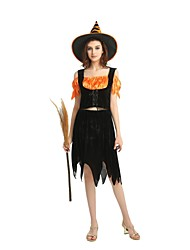 cheap -Witch Costume Unisex Halloween Halloween Masquerade Day of the Dead Festival / Holiday Polyster Outfits Black Solid Colored Halloween