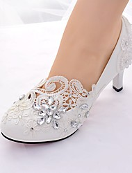 cheap -Women's Wedding Shoes Stiletto Heel Round Toe Rhinestone Lace / Leatherette Slingback / Basic Pump Spring & Summer White