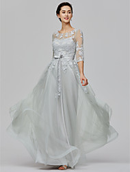 cheap -A-Line Empire Wedding Guest Prom Dress Illusion Neck Half Sleeve Floor Length Tulle Sheer Lace with Bow(s) Appliques 2021