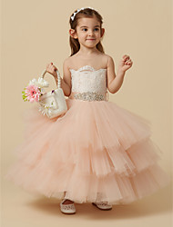 cheap -Ball Gown Knee Length Pageant Flower Girl Dresses - Lace / Tulle Sleeveless Jewel Neck with Sash / Ribbon / Buttons / Beading