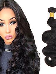 cheap -4 Bundles Brazilian Hair Body Wave Virgin Human Hair / Human Hair Natural Color Hair Weaves 8-26 inch Human Hair Weaves 6a Natural Black Human Hair Extensions Women's