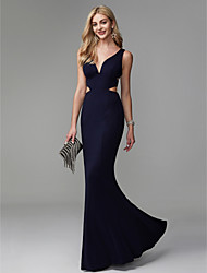 cheap -Mermaid / Trumpet V Neck Floor Length Spandex Beautiful Back / Elegant / Cut Out Prom / Formal Evening Dress with Pleats 2020