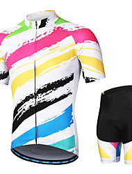 cheap -Arsuxeo Men's Short Sleeves Cycling Jersey with Shorts Red and White Stripes Bike Clothing Suit 3D Pad Moisture Wicking Sports Stripes Mountain Bike MTB Road Bike Cycling Clothing Apparel