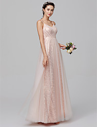 cheap -A-Line Spaghetti Strap Floor Length Tulle / Sequined Bridesmaid Dress with Sequin / Pleats