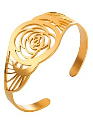 cheap -Bracelet Bangles Cuff Bracelet Flower Ladies Fashion Stainless Steel Bracelet Jewelry Gold / Silver For Daily