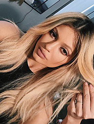 cheap -Remy Human Hair Lace Front Wig Layered Haircut Beyonce style Brazilian Hair Silky Straight Blonde Wig 130% Density with Baby Hair Ombre Hair Dark Roots Women's Long Human Hair Lace Wig Aili Young Hair