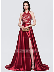 cheap -Ball Gown Elegant Furcal Black Tie Gala Dress Halter Neck Sleeveless Court Train Lace Charmeuse with Bow(s) Beading Split Front 2020