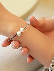 cheap -Women's Pearl Freshwater Pearl Bracelet Bangles Cuff Bracelet Ladies Sweet Fashion Elegant Stainless Steel Bracelet Jewelry Silver For Gift Daily / S925 Sterling Silver