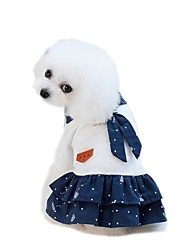 cheap -Pets Dress Dog Clothes White Blue Costume Cotton / Polyester Net Voiles & Sheers Flower / Floral Floral Botanical Flower Style Cute S M L XL XXL