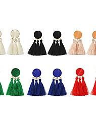 cheap -Drop Earrings fan earrings Hanging Earrings Tassel Ladies Tassel Fashion Elegant Earrings Jewelry Red / Pink / Dark Green For Evening Party Date