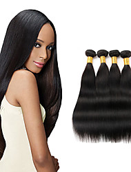 Недорогие -4 Связки Перуанские волосы Прямой Не подвергавшиеся окрашиванию Человека ткет Волосы 8-26 дюймовый Ткет человеческих волос Расширения человеческих волос / 10A / Прямой силуэт