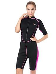 cheap -Women's Shorty Wetsuit 3mm CR Neoprene Diving Suit UV Resistant Anatomic Design Half Sleeve Front Zip Patchwork Summer