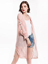 cheap -Women's Going out / Beach Active / Street chic Long Trench Coat - Floral / Botanical, Embroidered / Puff Sleeve